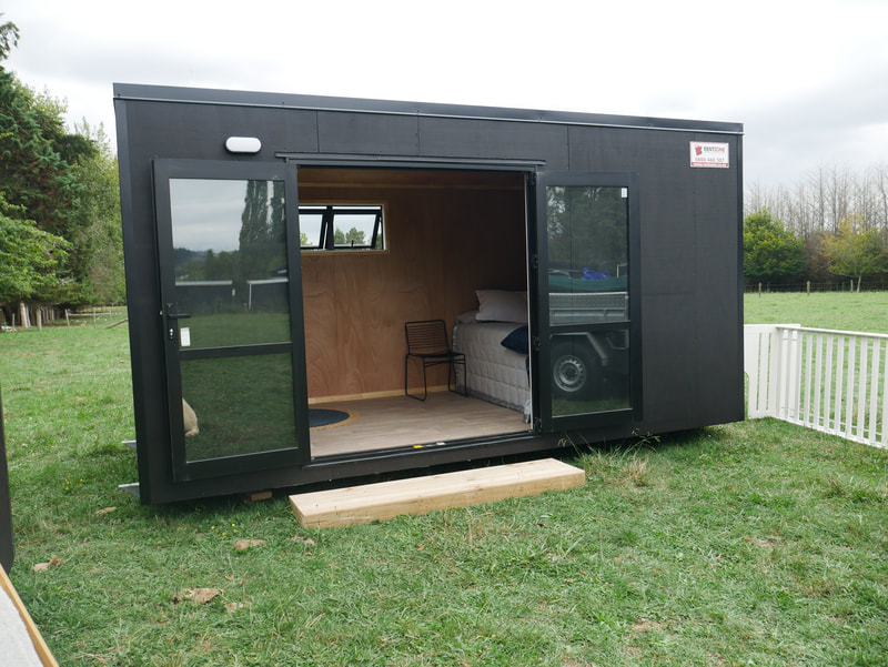 Medium portable building - set up as a sleepout extra bedroom